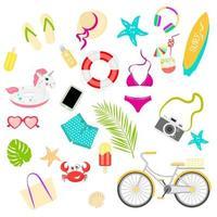 zomerartikelen vector set, geweldig ontwerp voor elk doel. geïsoleerde vectorillustratie. cartoon stijl, platte illustratie. vector illustratie plat ontwerp.