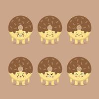 schattige donut met verschillende expressie