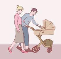 haar moeder en haar vader lopen met een kinderwagen. hand getrokken stijl vector ontwerp illustraties.