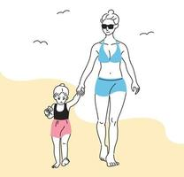 moeder en dochter in zwemkleding lopen op het strand. hand getrokken stijl vector ontwerp illustraties.