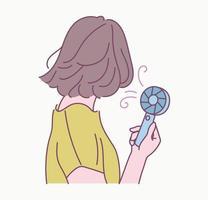 het achteraanzicht van een meisje met een handige cadeaumachine in de hete zomer. hand getrokken stijl vector ontwerp illustraties.