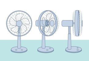 verschillende weergaven van de elektrische ventilator. hand getrokken stijl vector ontwerp illustraties.