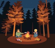 een man en een jongen zitten bij een vreugdevuur in een donker bos. hand getrokken stijl vector ontwerp illustraties.