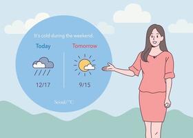de weersvoorspeller voorspelt het weer. hand getrokken stijl vector ontwerp illustraties.