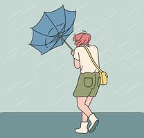 een paraplu draaide zich om terwijl een meisje door een hevige regenbui liep. hand getrokken stijl vector ontwerp illustraties.