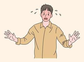 een man heeft een beschamende uitdrukking. hand getrokken stijl vector ontwerp illustraties.