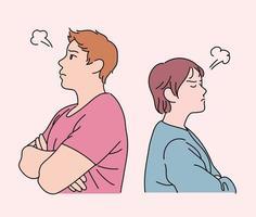 de twee stellen keren zich de rug toe en worden boos. hand getrokken stijl vector ontwerp illustraties.