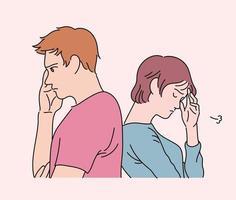 de twee stellen staan rug aan rug en kijken boos. hand getrokken stijl vector ontwerp illustraties.