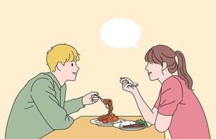 de man en de vrouw voeren een gesprek en eten. hand getrokken stijl vector ontwerp illustraties.