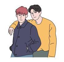 twee jongens poseren liefdevol. hand getrokken stijl vector ontwerp illustraties.