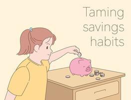 een meisje stopt een munt in een spaarvarken. hand getrokken stijl vector ontwerp illustraties.