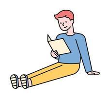 een jongen leest een boek terwijl hij met zijn benen gestrekt op de grond zit. platte ontwerpstijl minimale vectorillustratie.