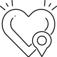 lijnpictogram voor defibrillatorlocatie