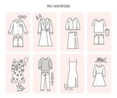 voorgestelde combinatie van mode-coördinatie. platte ontwerpstijl minimale vectorillustratie.