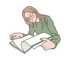een vrouw met bril leest een boek. hand getrokken stijl vector ontwerp illustraties.