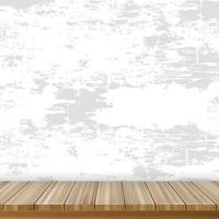 realistische houten tafel op de achtergrond van een grijze oude muur - vector
