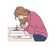 een meisje schrijft iets. hand getrokken stijl vector ontwerp illustraties.
