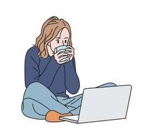 een vrouw zit op de grond en kijkt naar haar laptop en drinkt een drankje. hand getrokken stijl vector ontwerp illustraties.