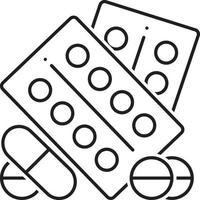 lijnpictogram voor farmaceutische medicijnen