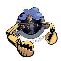 kanker sterrenbeeld vrouw platte cartoon vectorillustratie. astrologisch symboolpersoonlijkheid, meisje met enorme krabklauwen. klaar om 2D-teken te gebruiken voor commercieel, drukontwerp. geïsoleerde concept pictogram vector