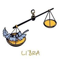 Weegschaal sterrenbeeld platte cartoon vectorillustratie. hemelse gerechtigheid schalen object. astrologisch horoscoopsymbool, evenwicht, evenwicht en harmonieconcept. geïsoleerd handgetekend item vector