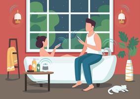 paar in slimme badkamer egale kleur vectorillustratie. mensen die apparaten op afstand bedienen met smartphones. jonge man en vrouw 2d stripfiguren met geautomatiseerde badkamer op achtergrond vector