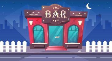 bar 's nachts egale kleur vectorillustratie. plaatselijk café met 's nachts stoep. luxe pub buitenkant. plek voor drankjes. rode bakstenen gebouw. stedelijke 2d cartoon stadsgezicht met niemand op de achtergrond vector