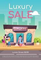 luxe verkoop poster platte vector sjabloon. kleding kopen met korting. koop kwaliteitskleding. brochure, boekje conceptontwerp van één pagina met stripfiguren. premium boetiekvlieger, folder
