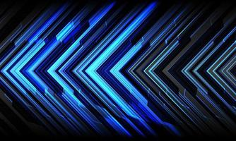 abstracte blauwe pijl licht cyber geometrische technologie futuristische richting op grijze ontwerp moderne achtergrond vectorillustratie. vector