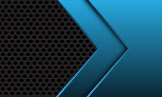 abstracte blauwe metalen pijl op donkergrijze cirkel mesh ontwerp moderne futuristische achtergrond vectorillustratie. vector