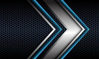 abstracte zilveren pijl schaduw metalen richting geometrisch op blauwe zeshoek mesh patroon ontwerp moderne futuristische achtergrond vectorillustratie. vector
