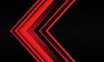 abstracte rode pijl schaduw metalen richting geometrisch op zwarte zeshoek mesh patroon ontwerp moderne futuristische achtergrond vectorillustratie. vector