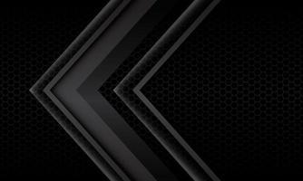 abstracte grijze pijl schaduw metalen richting geometrisch op zwarte zeshoek mesh patroon ontwerp moderne futuristische achtergrond vectorillustratie. vector