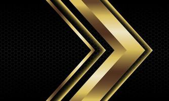 abstracte gouden pijl schaduw metalen richting geometrische op zwarte zeshoek mesh patroon ontwerp moderne luxe futuristische achtergrond vectorillustratie. vector