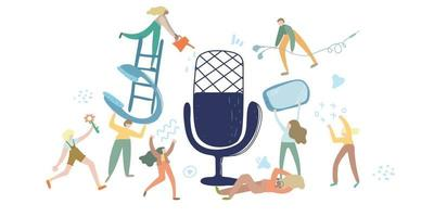 podcast vectorillustratie. e-radio talkshow, discussie en interview personen concept. virtuele mediacommunicatie met microfoon. clubhuis, audiochatconcept. influencer marketing entertainment performance business