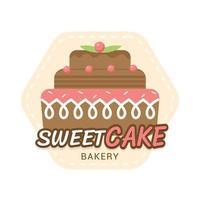 zoete bakkerij- en broodetikettenontwerp voor snoepwinkel, cake, café vector