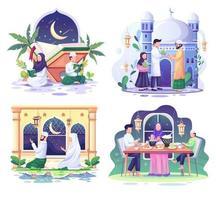set van ramadhan concept illustratie. gelukkige moslimmensen vieren heilige maand ramadhan, eid mubarak-groet. vector illustratie