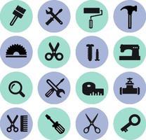 pictogrammen tools. een set van platte computerpictogrammen. interface pictogrammen. internet pictogrammen. bouw hulpmiddelen pictogrammen vector