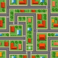 bovenaanzicht van het naadloze stadspatroon van straten, wegen, huizen en auto's vector