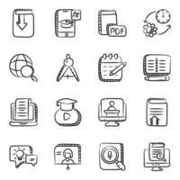 virtueel leren en onderwijs elementen pictogramserie