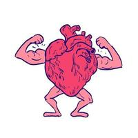 gezonde hart buigende spiertekening vector