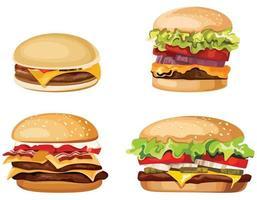 set van verschillende hamburgers. vector