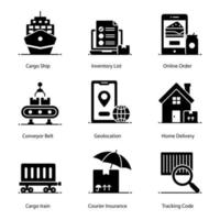 post- en bezorgdiensten pictogramserie