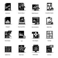 moderne gegevensanalyse pictogramserie vector