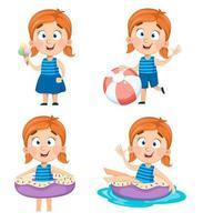 schattig klein meisje, set van vier poses