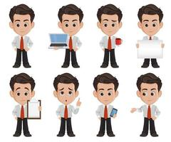 zakenman stripfiguur. set van acht illustraties vector