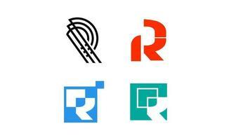 eerste r elegante creatieve logo ontwerpsjabloon vector