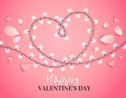 hart van een krans met bloemblaadjes geïsoleerd op roze vector