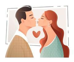 jonge man en vrouw gaan illustratie kussen vector