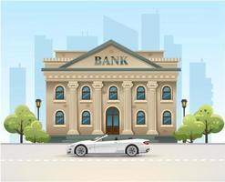 bankgebouw. bank in de stad. de auto staat bij de bank. geld op de bank. vector illustratie
